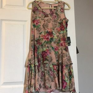 Adrianna Papell blush pink floral dress